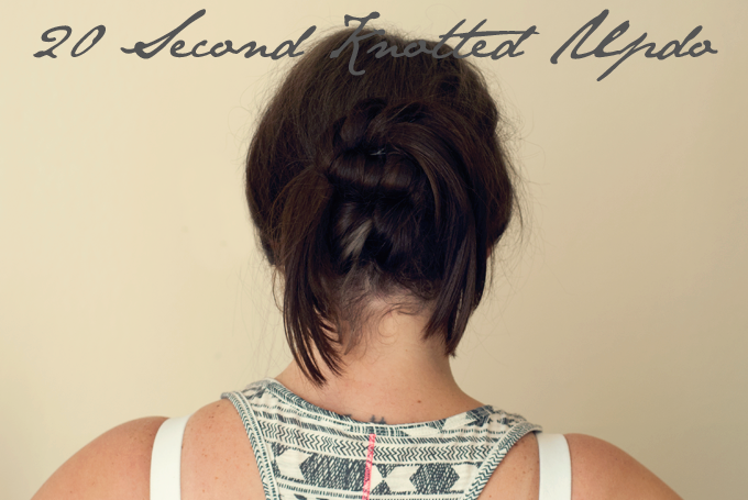 20 Second Knotted Updo by Three in Three | In a #hair rut and need a quick fix? This hairstyle is so easy and convenient, all you need is a hairpin and you're set!