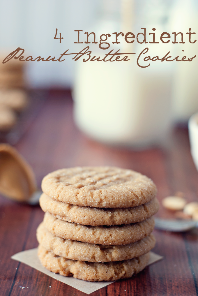 4 Ingredient Peanut Butter Cookies by Three in Three | These cookies are so soft and delicious, you'd swear there was more than 4 ingredients! #flourless #vegetarian #glutenfree