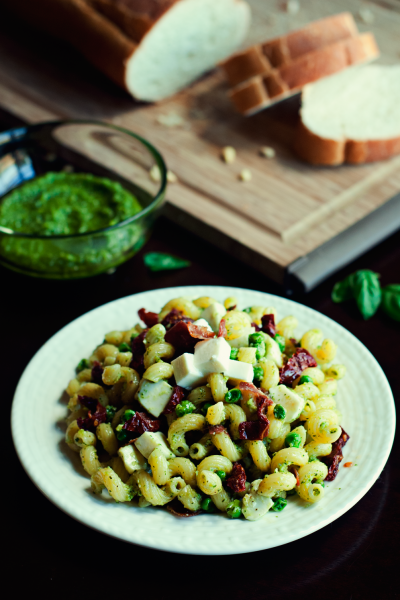 Pesto Pasta with Prosciutto, Peas, and Sun-Dried Tomatoes