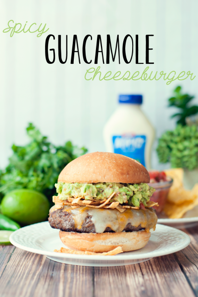 Spicy Guacamole Cheeseburger by Three in Three #SayCheeseburger #shop #cbias