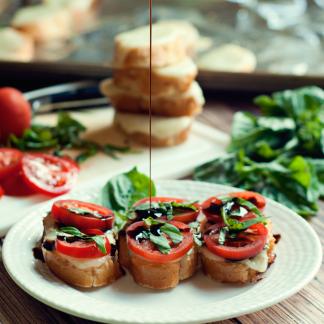Caprese Bruschetta by Three in Three #FoodDeservesDelicious #shop #cbias