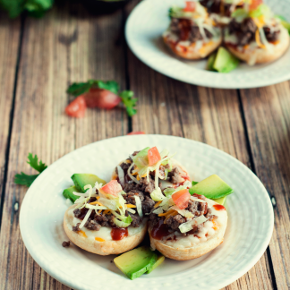 Mini Taco Pizzas by Three in Three