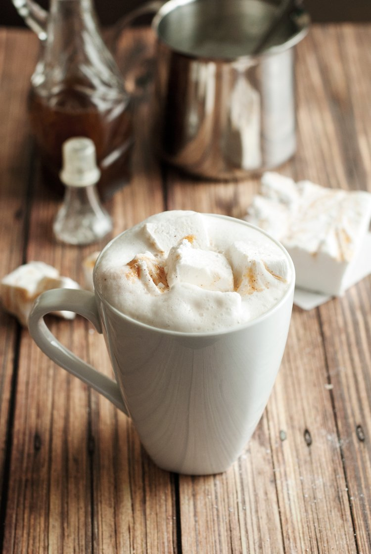 pumpkin spice latte with homemade marshmallows