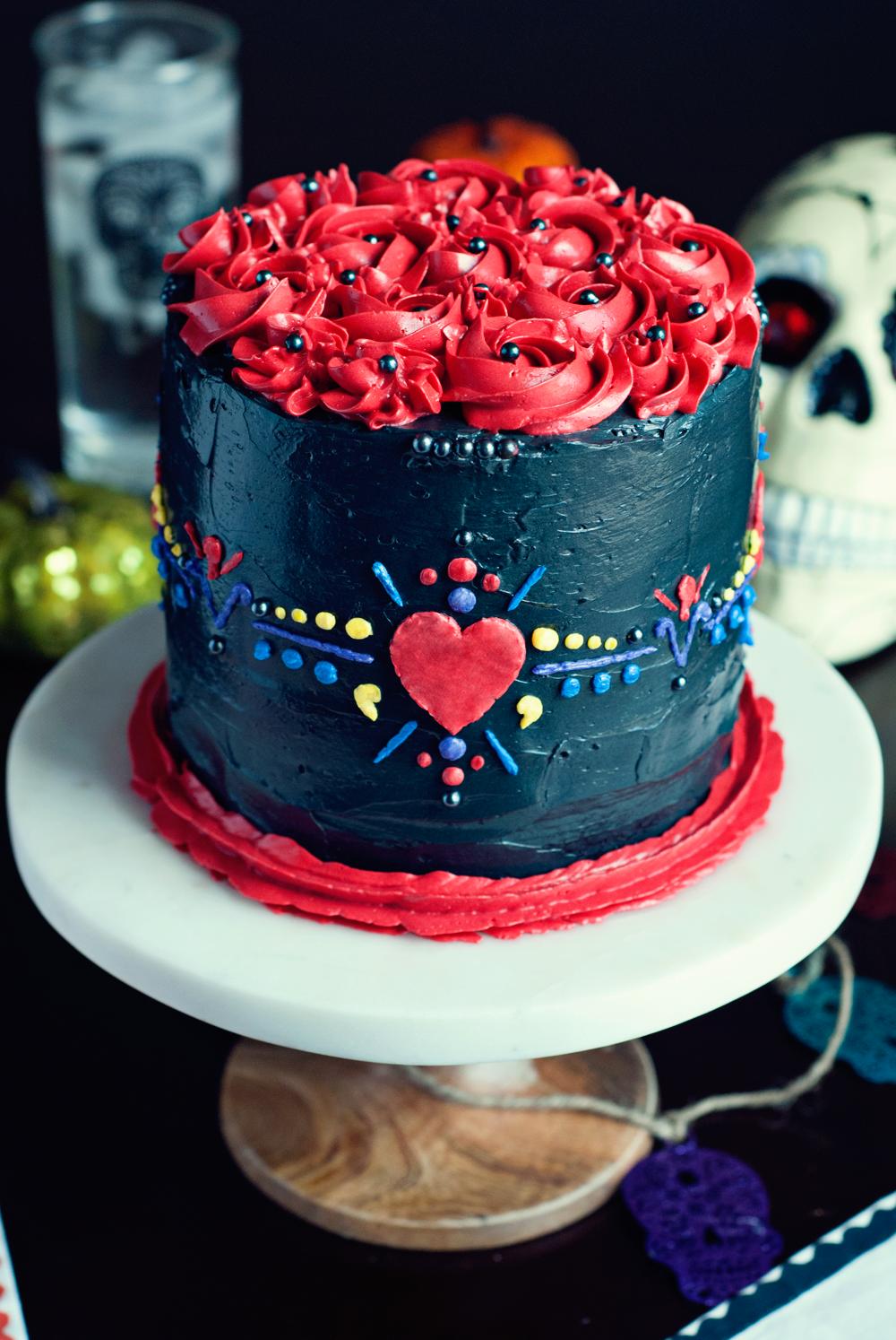 Dia De Los Muertos Cake with Swiss Meringue Buttercream