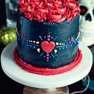 Dia De Los Muertos Cake with Swiss Meringue Buttercream - Beautiful, easy, and perfect for the season! I need this cake now!