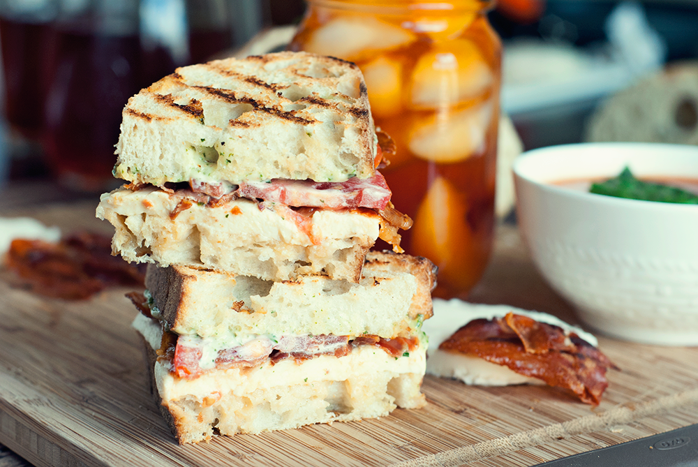 Grilled Prosciutto, Mozzarella, and Pesto Mayo Sandwich by A Simple Pantry