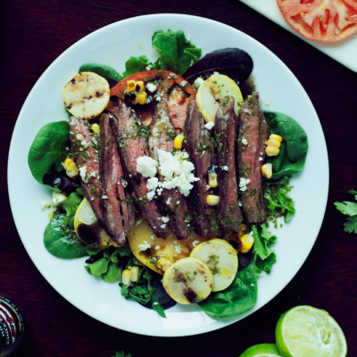 Seared Steak Salad +Cilantro Lime Vinaigrette +Hot Sauce