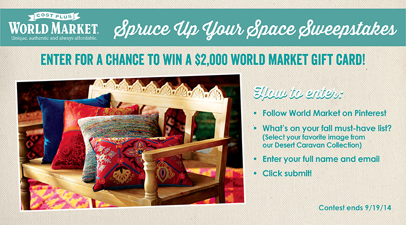 #SpruceUpYourSpace with #WorldMarket and enter to win a $2000 gift card! Can you say shopping spreeeee?
