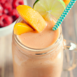 This easy peach raspberry smoothie is creamy, delicious, and makes the perfect breakfast, snack, or treat! Yum!