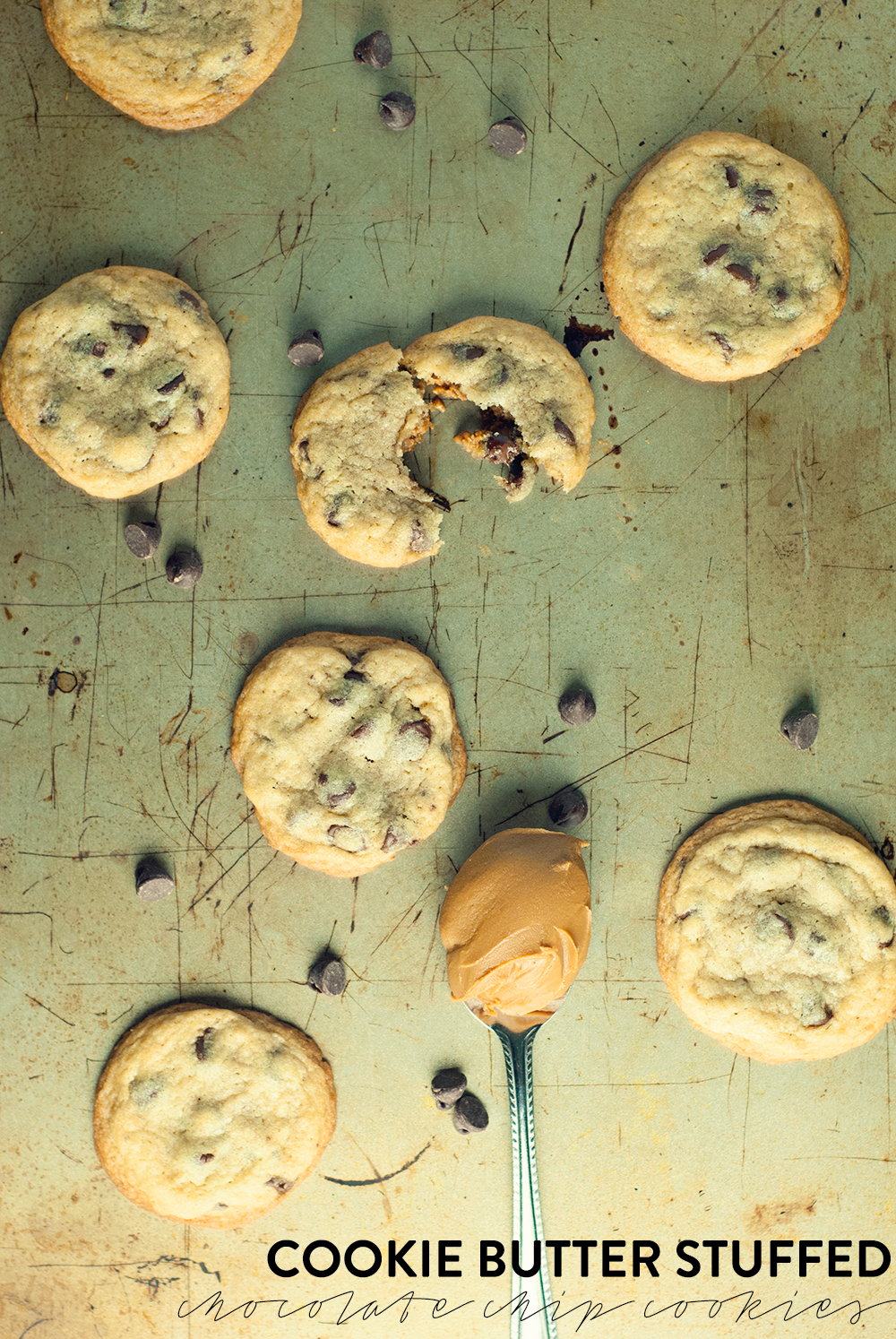 These cookie butter stuffed chocolate chip cookies are the real deal of delicious! Get the recipe and try today!