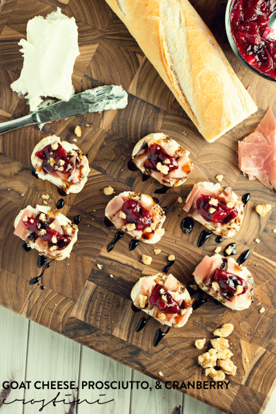 Goat Cheese, Prosciutto, and Cranberry Crostini + Giveaway