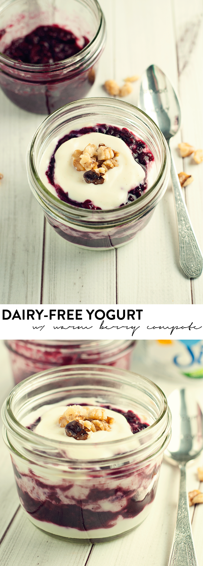 Makeover your breakfast with this delicious dairy-free yogurt with warm berry compote! Sprinkle on some walnuts for crunch!