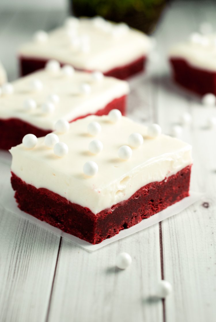 Red Velvet Cookie Bars with Cream Cheese Frosting | asimplepantry.com