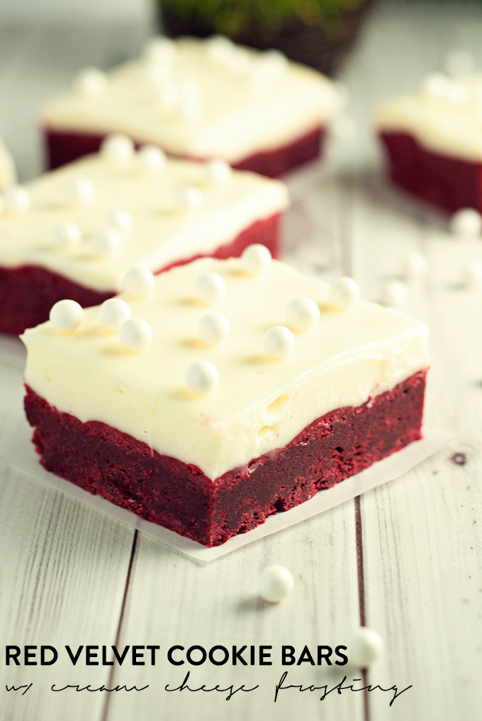 ... red velvet cookie bars with cream cheese frosting will blow your mind