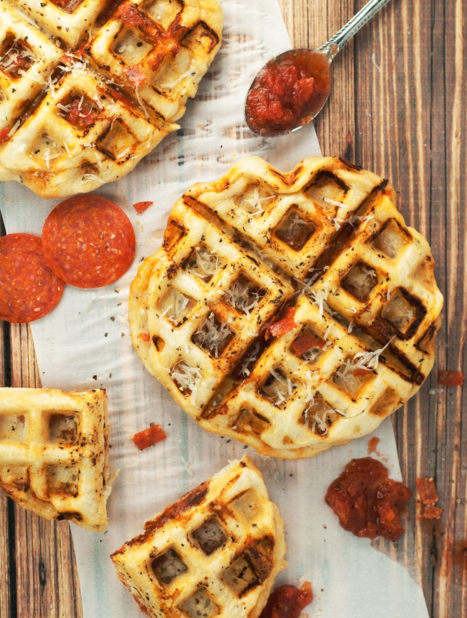 Pepperoni Pizza Waffles | asimplepantry.com