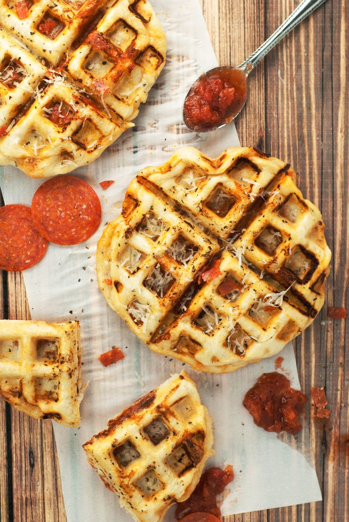 Pepperoni Pizza Waffles   asimplepantry.com