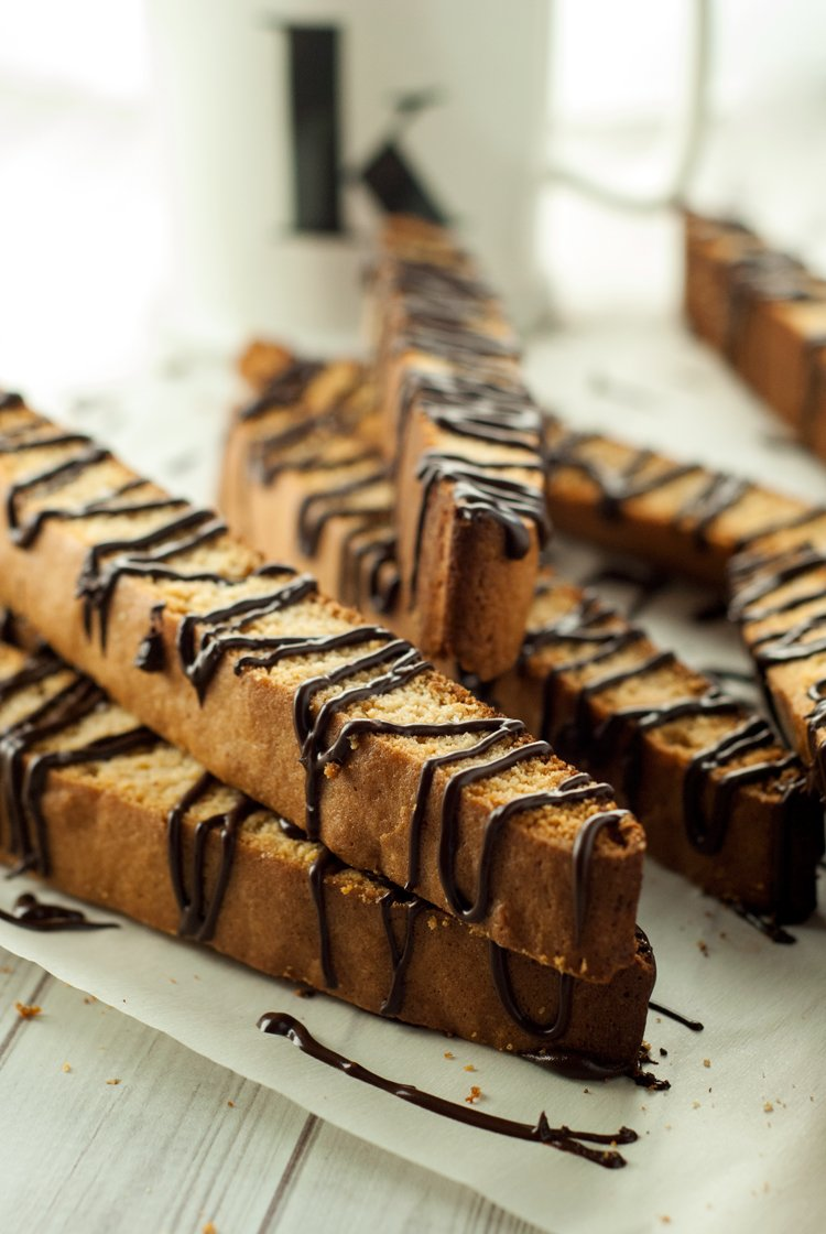 Dark Chocolate Salted Caramel Biscotti | asimplepantry.com