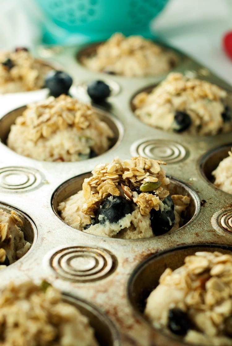 Muesli Blueberry Muffins Recipe | asimplepantry.com