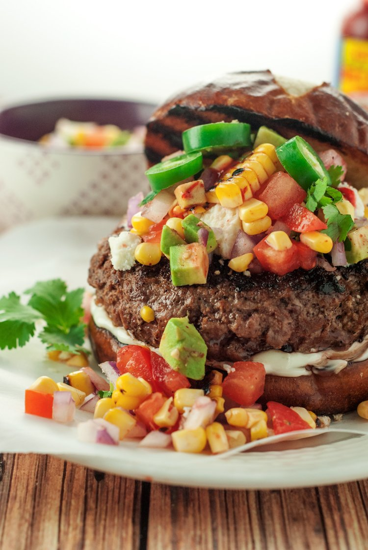 Tex Mex Burger with Avocado Corn Relish | asimplepantry.com