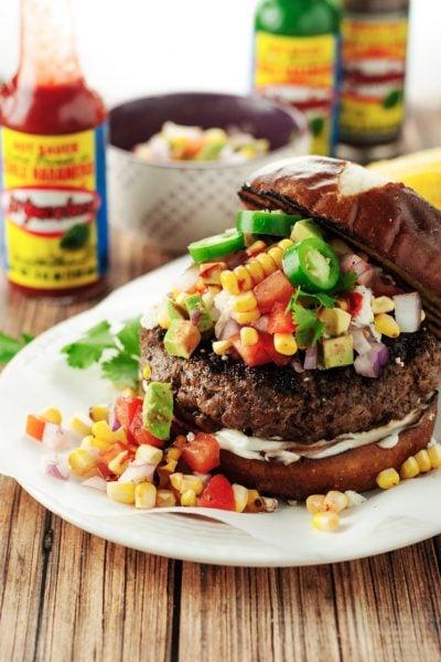 Tex Mex Burger with Avocado Corn Relish