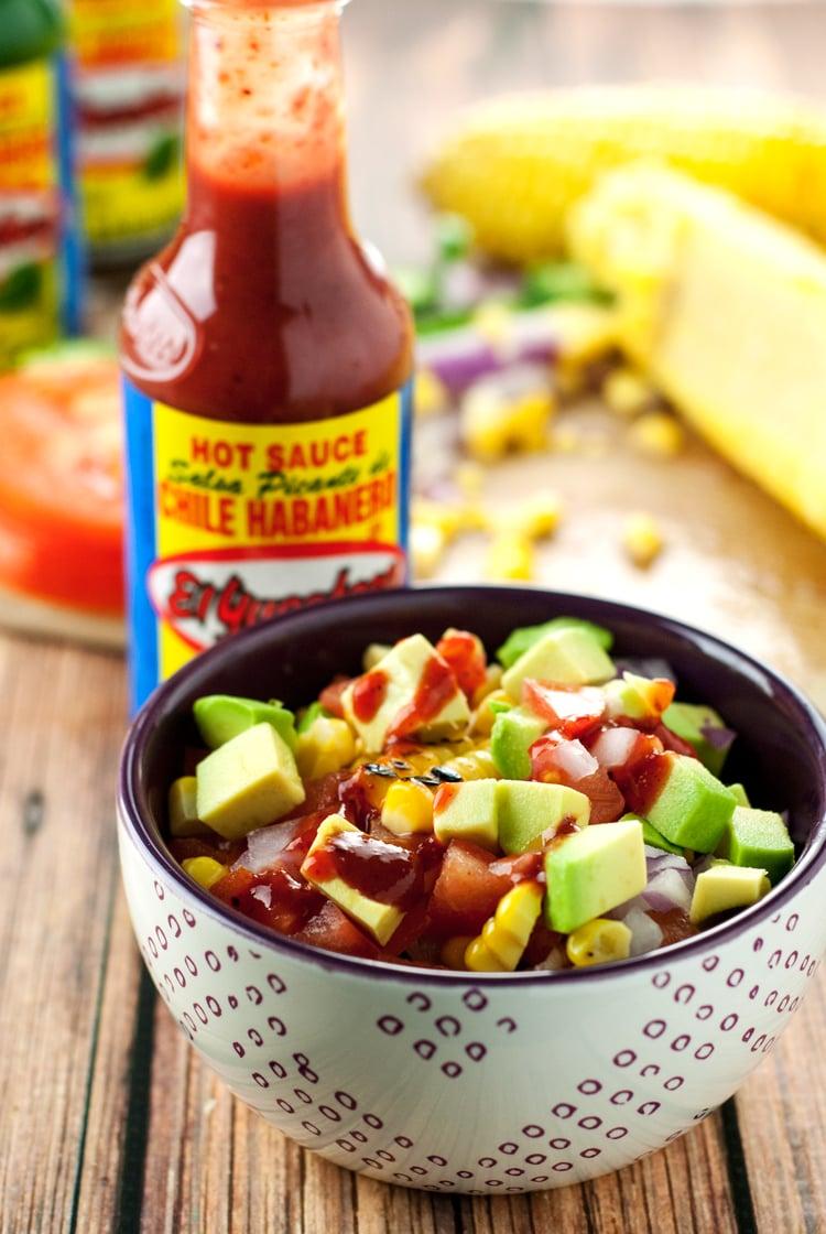 Tex Mex Burger with Avocado Corn Relish | asimplepantry.com