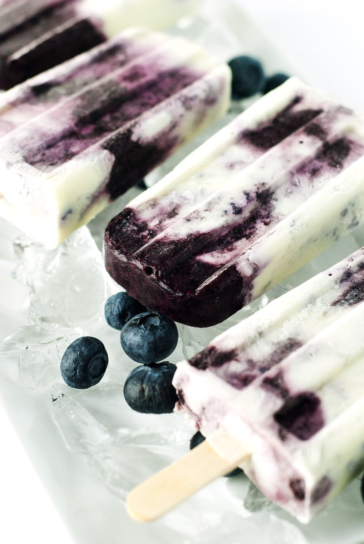 Blueberries & Cream Popsicles Recipe | asimplepantry.com