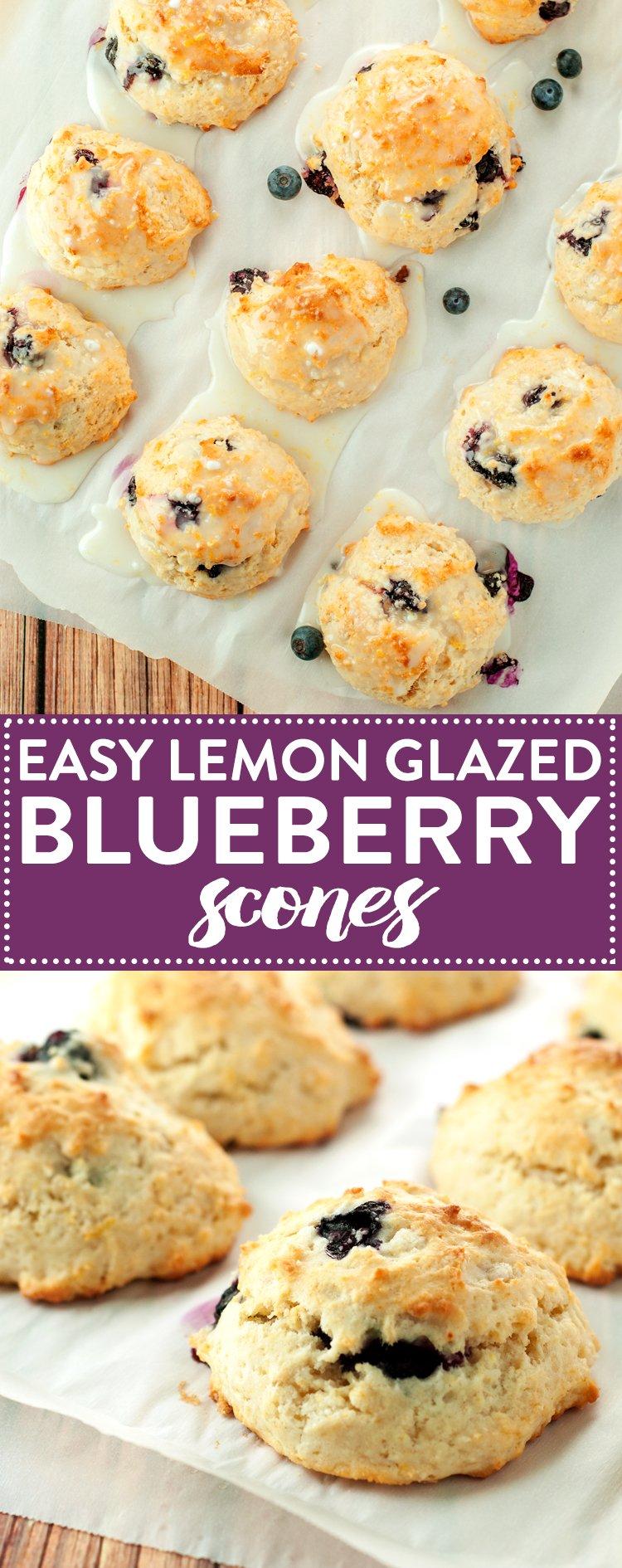 Easy Lemon Glazed Blueberry Scones   asimplepantry.com