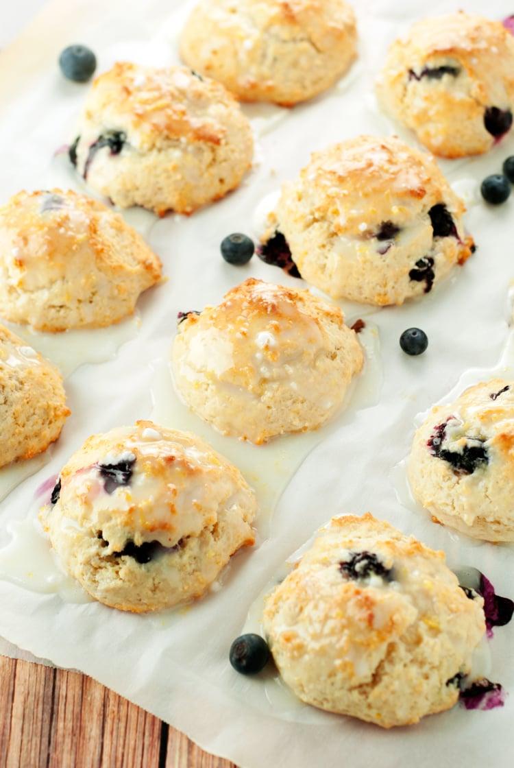 Easy Lemon Glazed Blueberry Scones | asimplepantry.com