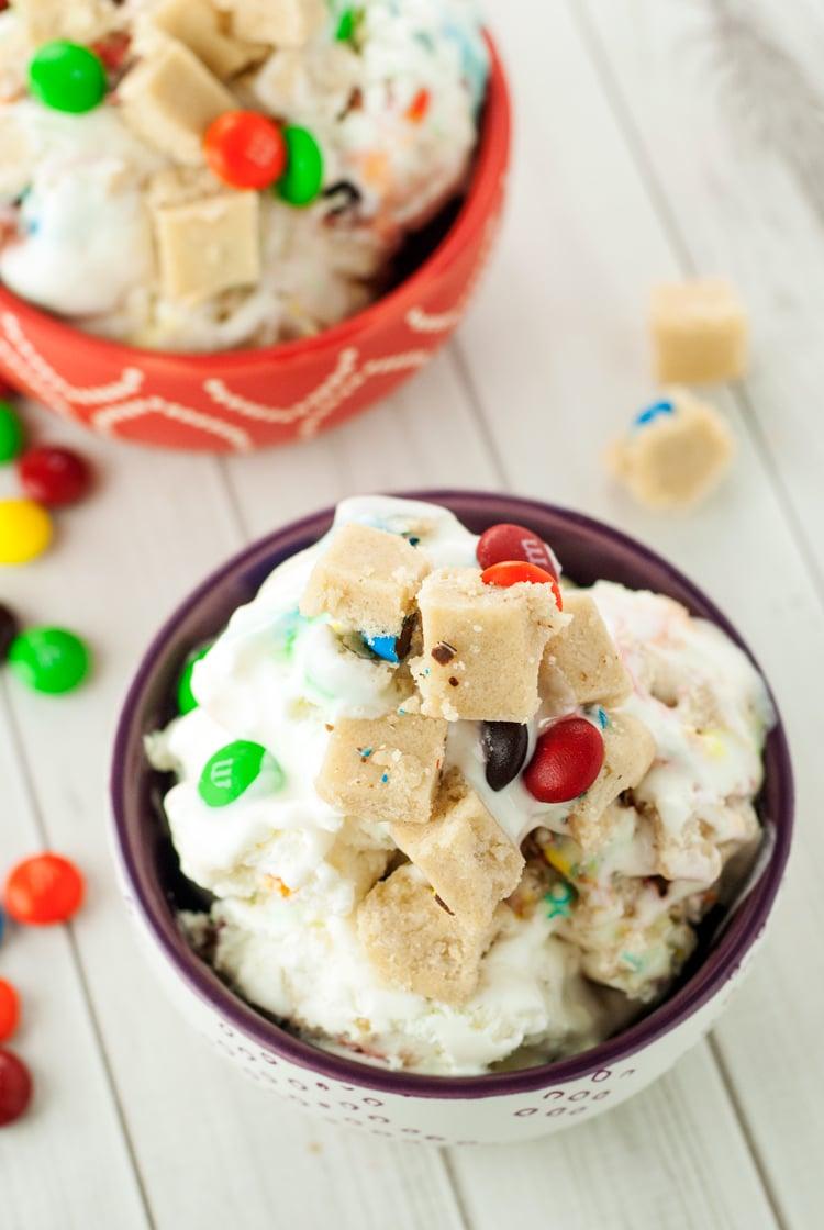 No Churn M&M's® Cookie Dough Ice Cream | asimplepantry.com