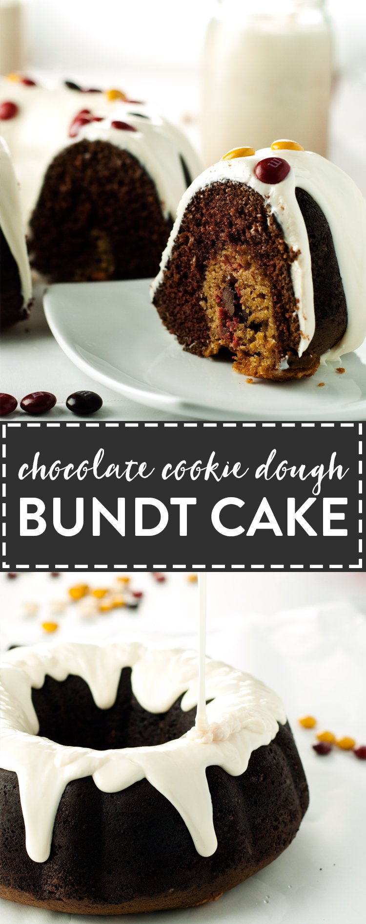 Chocolate Cookie Dough Bundt Cake | asimplepantry.com