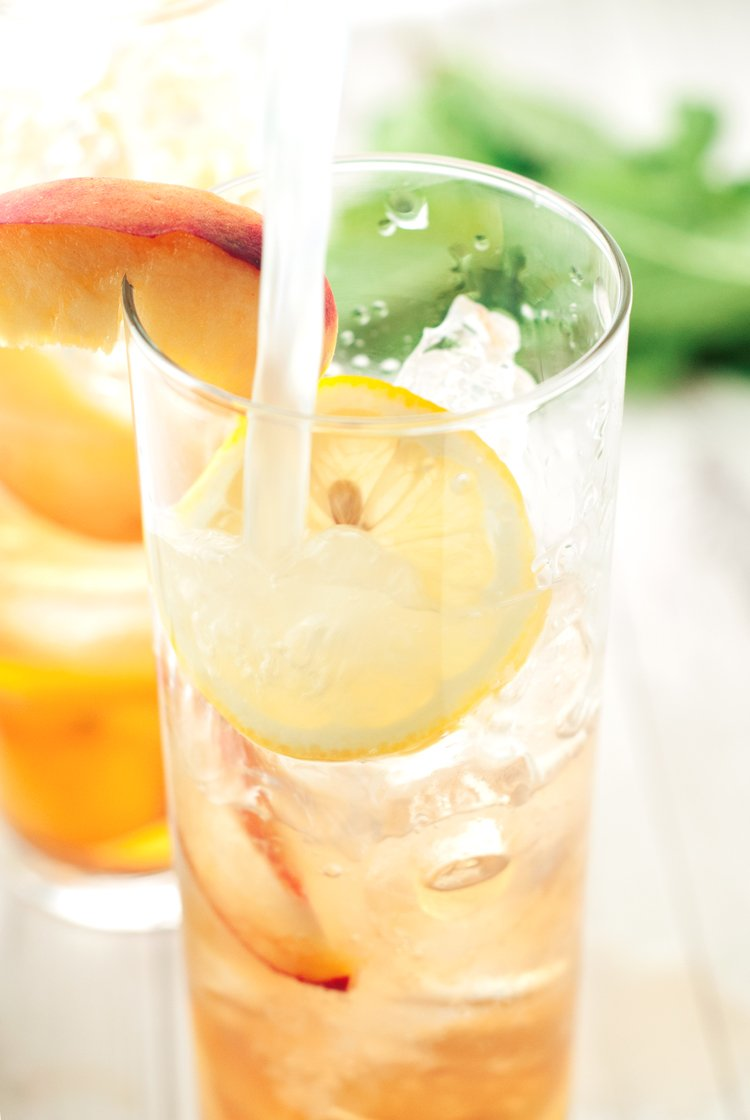 Southern Spiked Peach Iced Tea | asimplepantry.com