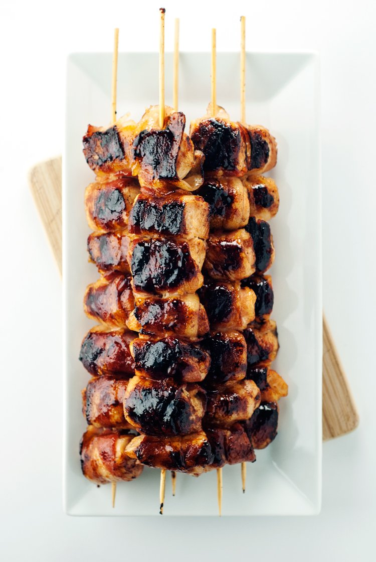 Sweet & Spicy Bacon Wrapped Chicken Skewers | asimplepantry.com