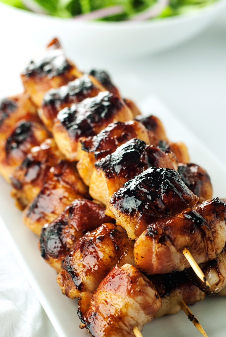 Sweet and Spicy Bacon Wrapped Chicken Skewers