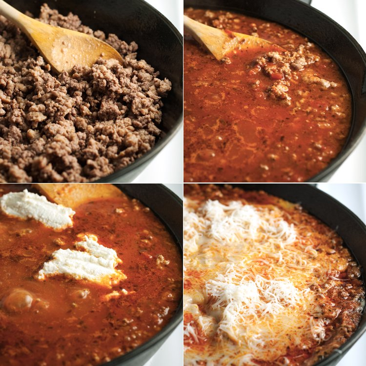 Upper left corner: browned ground beef; upper right corner: with sauce and seasoning mixed in; lower left corner: with ricotta cheese mixed in; lower right corner: with noodles and mozzarella cheese added