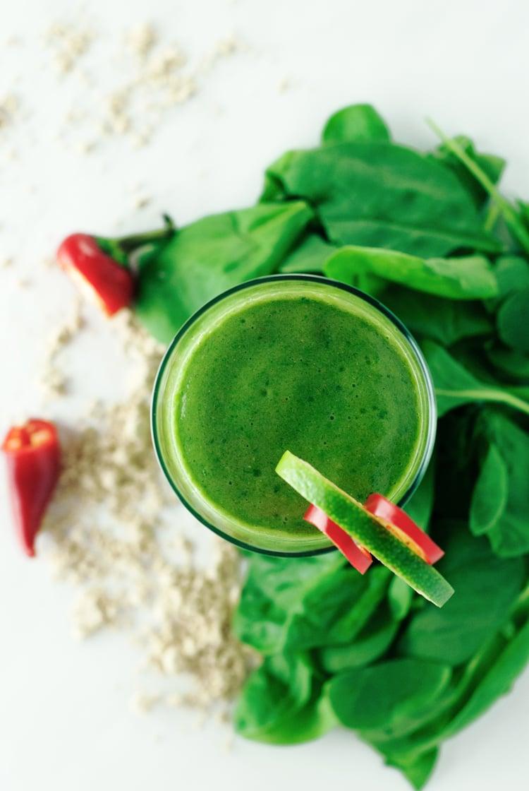 Jalapeno Mango Green Smoothie | asimplepantry.com