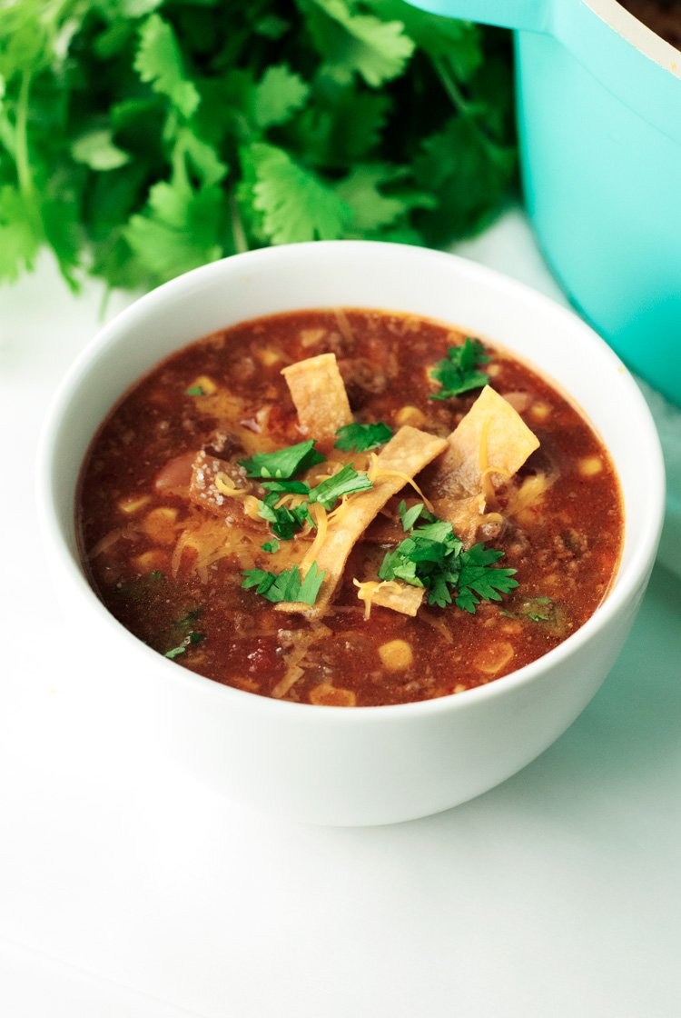 One Pot Enchilada Soup | asimplepantry.com