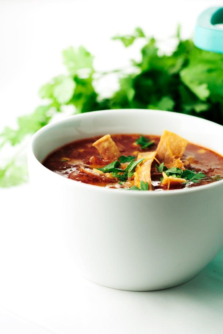 One Pot Enchilada Soup | asimplepantry.com