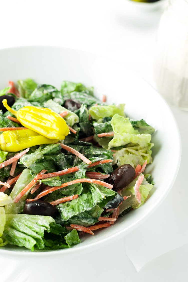 Restaurant Style House Salad with Creamy Parmesan Dressing | asimplepantry.com