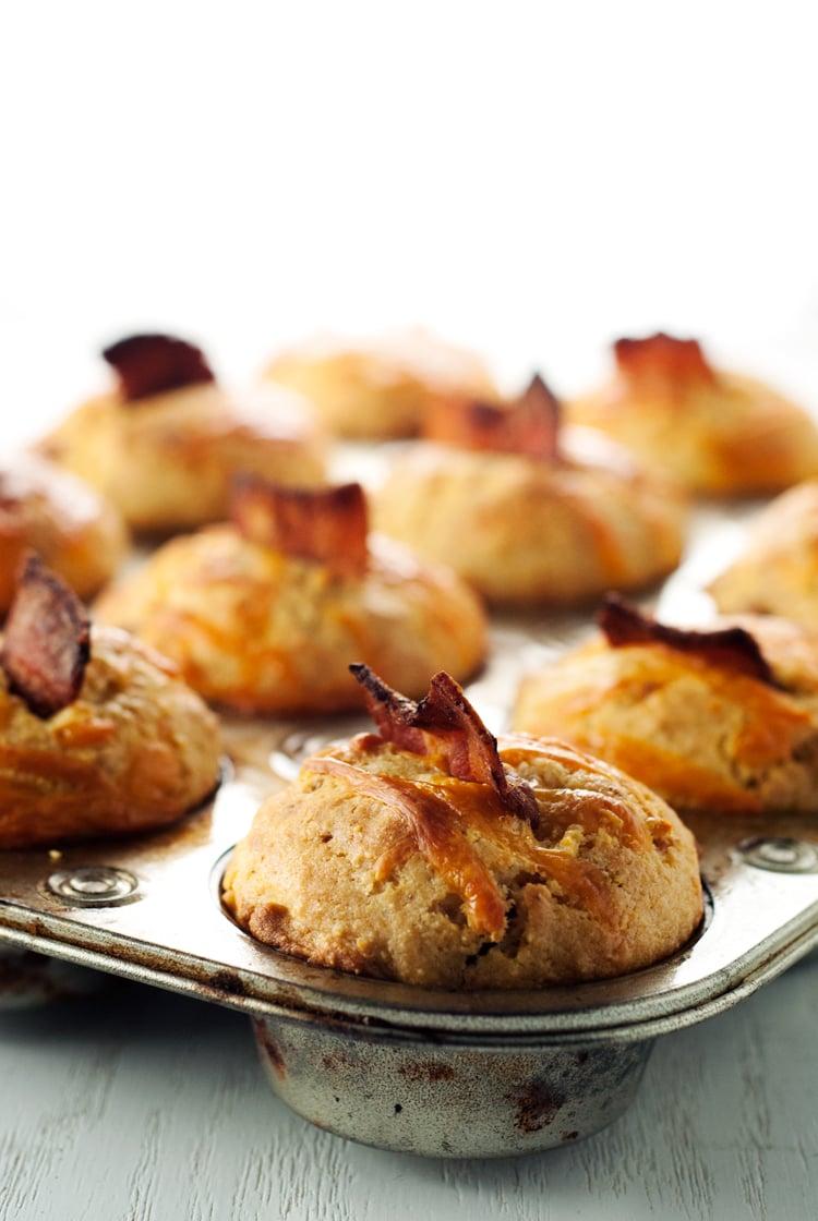 Bacon Cheddar Corn Muffins | asimplepantry.com