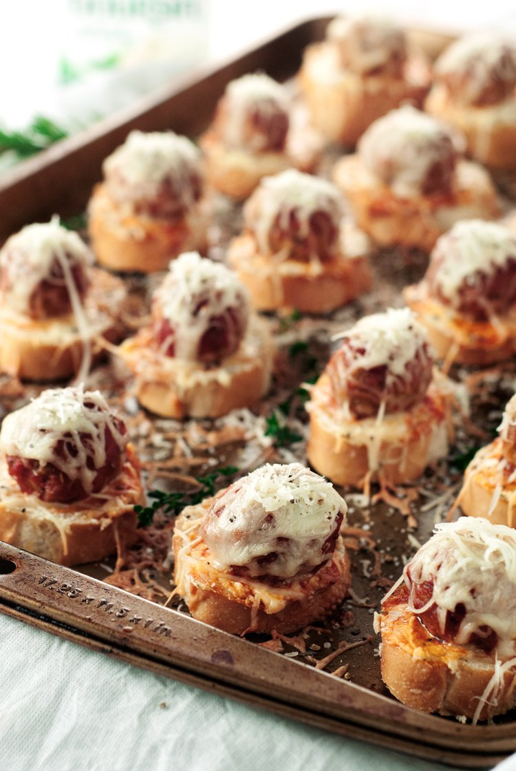 Meatball Crostini Recipe | asimplepantry.com