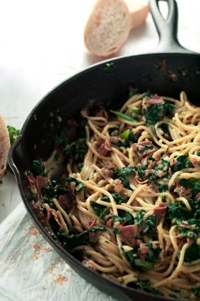 Spaghetti Carbonara with Kale and Prosciutto