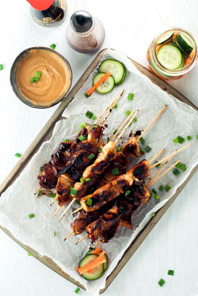 Chicken Satay with Kecap Manis & Peanut Sauce | asimplepantry.com