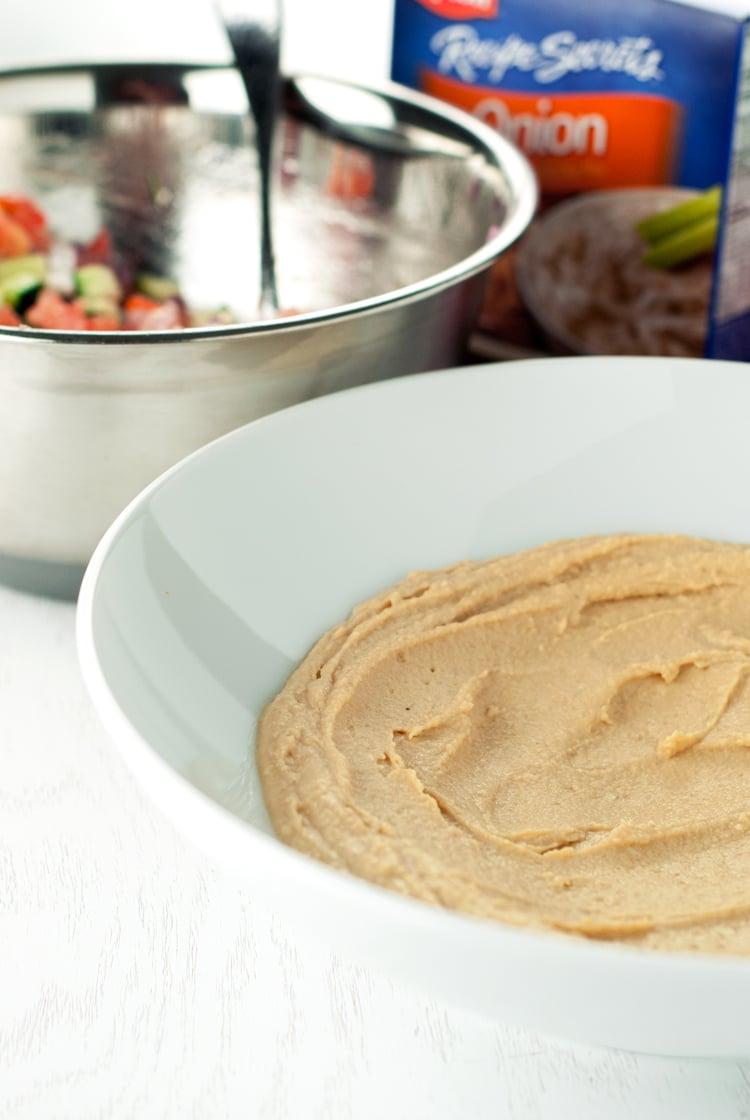 Loaded Mediterranean Hummus Dip | asimplepantry.com