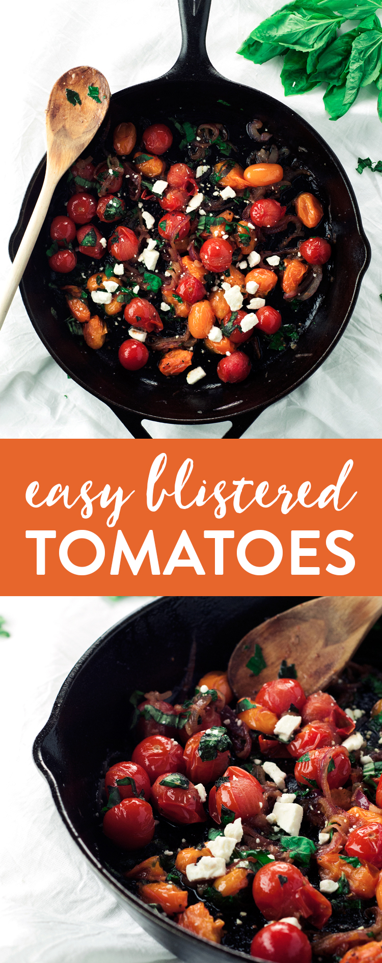 The simplest side dish around, this easy blistered tomatoes recipe will quickly become your go-to for dinnertime success! | asimplepantry.com