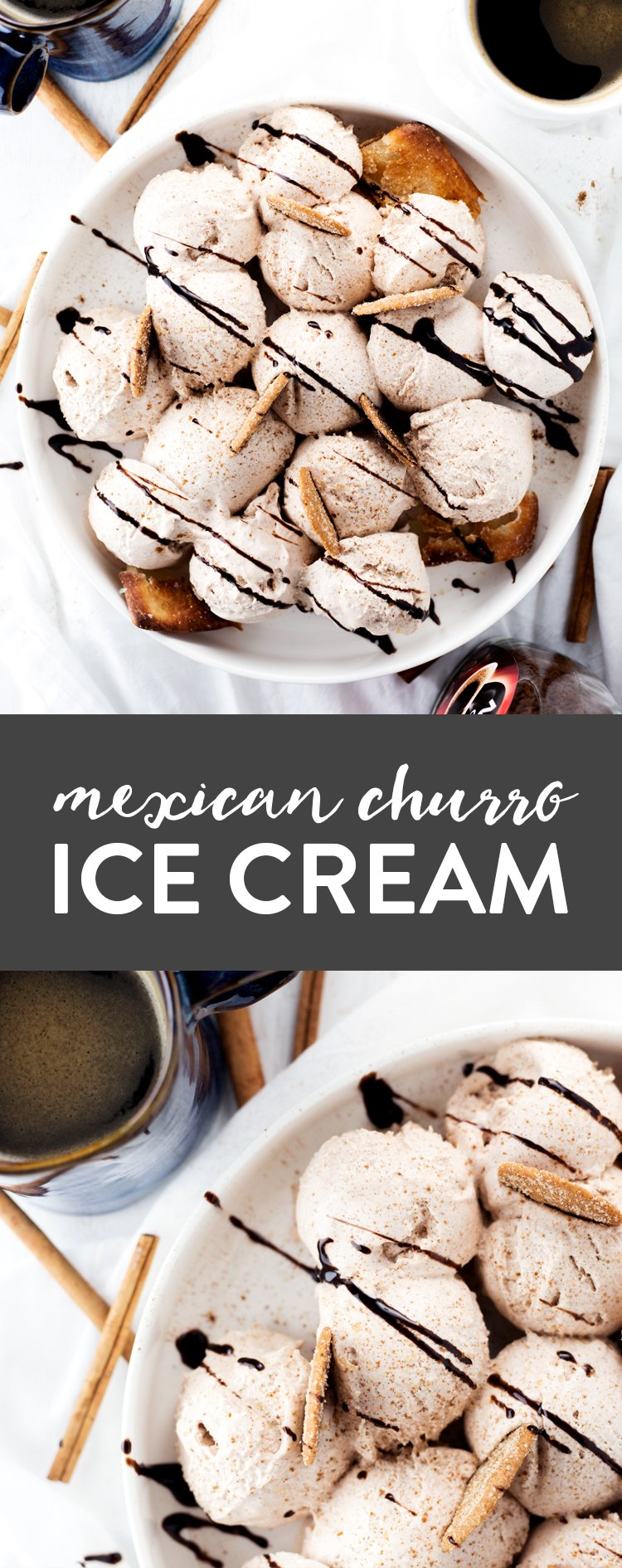 Cool down with this simple and delicious NO CHURN Mexican Churro Ice Cream! Preps in minutes, just pop in the freezer and get ready for dessert!   asimplepantry.com