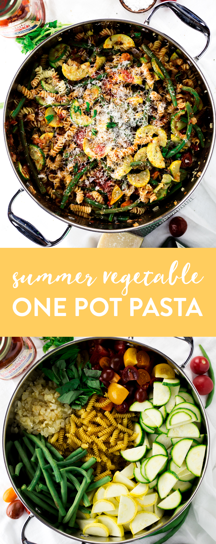 A perfect dish to get through a hot day, whip up this Summer Vegetable One Pot Pasta and be ready to eat in just 20 minutes! | asimplepantry.com