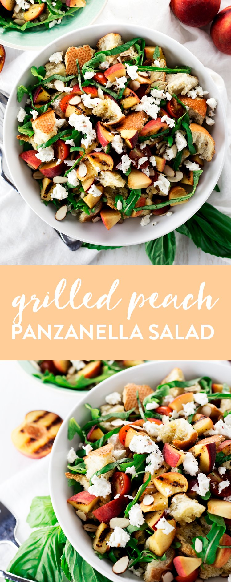Put those fresh, in-season peaches to good use in this super simple, super flavorful, Grilled Peach Panzanella Salad! | asimplepantry.com
