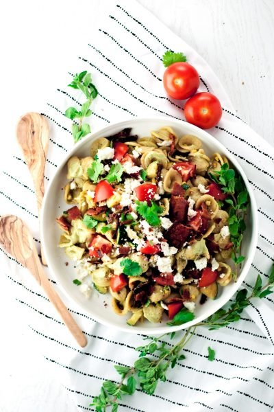 Bacon Pasta Salad with Avocado Crema Sauce