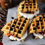 Dessert never looked better with these Bacon Waffle Smores! The perfect marriage of sweet and salty, this treat will definitely satisfy!   asimplepantry.com