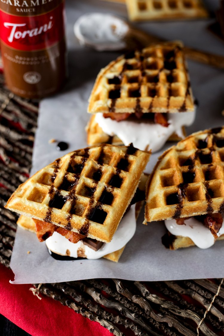 Dessert never looked better with these Bacon Waffle Smores! The perfect marriage of sweet and salty, this treat will definitely satisfy! | asimplepantry.com